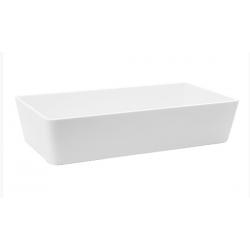 Lavabo rectangular grande resina blanco