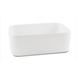 Lavabo de apoyo rectangular grande resina blanco