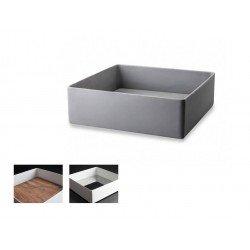 Lavabo cuadrado en resina gris