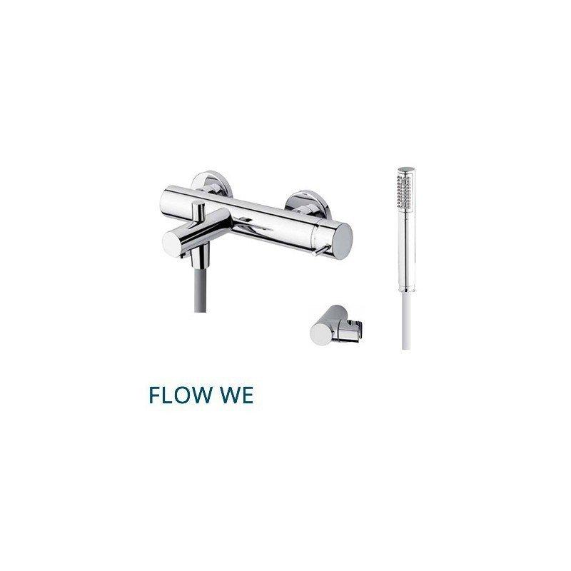 Grifería de bañera y ducha con flexo y teleducha. FLOW