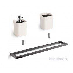 Toallero negro + Dosificador + Portacepillos en negro y blanco, accesorios de baño GRELA
