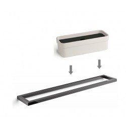 Toallero cromado negro + Caja Portaobjetos en blanco / negro, accesorios de baño GRELA