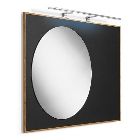 Espejo redondo con estructura en pizarra