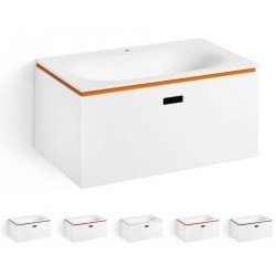Mueble de baño con lavabo de diseño en resina.