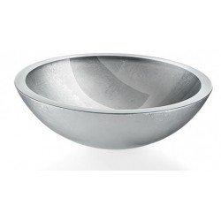 Lavabo de cristal plateado