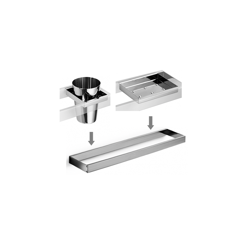 Set De Baño Jabonera:Set accesorios baño para lavabo design escuadrado Cromado