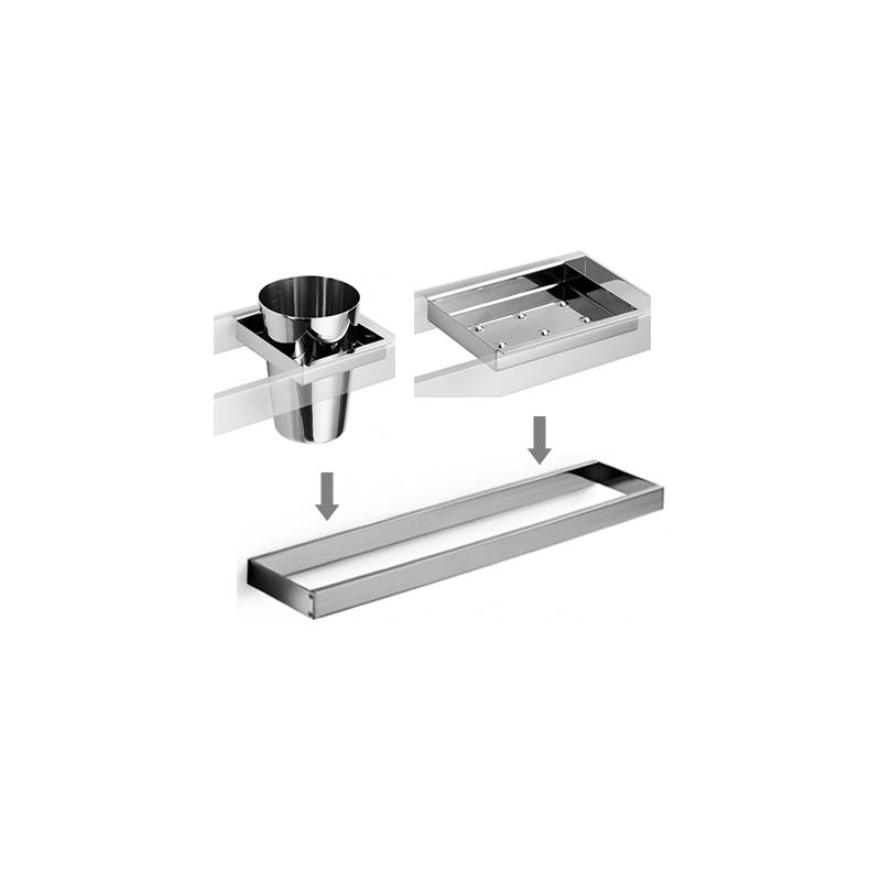 Set De Jabonera Para Baño:Set accesorios baño para lavabo design escuadrado Cromado